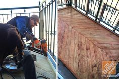 Maker of amazing things Ryan Lange installs a herringbone deck on his apartment balcony. Click through to see how it turned out. (Spoiler: It's awesome.)