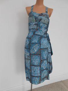 Vintage 1950's Hawaiian Sarong Batik Print Sun Dress Pin Up VLV