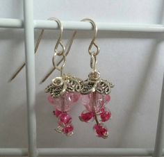 Pink Beaded Dangle Earrings Pink drop wire by HappyElephantArt