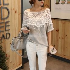 Lace Cutout Shirt Women Handmade Crochet Cape Collar Batwing Sleeve T-shirt. Love the lace and off shoulder look. It's My style Vogue Fashion, Look Fashion, Diy Fashion, Ideias Fashion, Womens Fashion, Latest Fashion, Fashion Online, Cheap Fashion, Asian Fashion