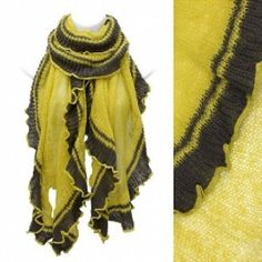 Scarf Soft Knit Wrap Shawl Mustard W/ Brown 2 Tone Ruffle Acrylic  http://beachcatsbargains.ecrater.com/  beachcats bargains
