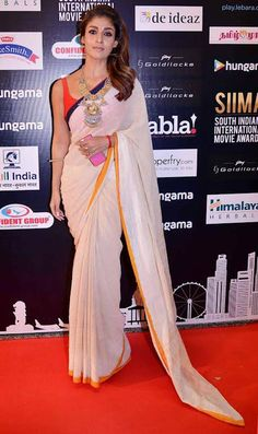 Nayanthara at SIIMA 2016. #Mollywood #Tollywood #Kollywood #Fashion #Style #Beauty #Hot #Sexy #Saree