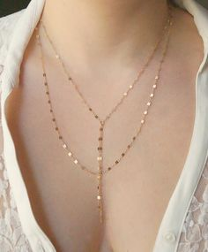 Gold Double Strand Y Necklace