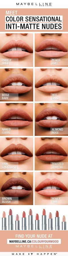 Color Sensational® Inti-Matte Nude lipstick features warm, golden pigments that enrich your natural lip colour. Warmer, more sensational nudes for every skin tone. Pucker up to radiant, confident colour that highlights one's natural beauty. #springlipstickcolors