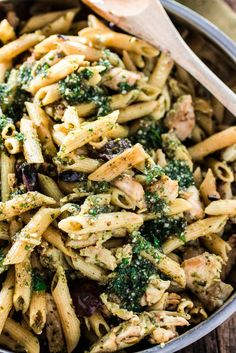 47. One Pan Pasta With Chicken, Pesto and Olive #healthy #chicken #recipes http://greatist.com/health/healthy-exciting-chicken-breast-recipes