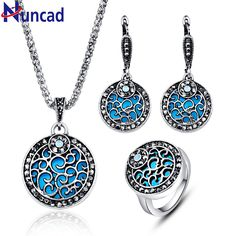 Fashion Vintage Jewelry Set For Women Silver Color Dubai Blue Round Wedding Jewelry Sets Engagement Party Gift of love ly12 #Affiliate