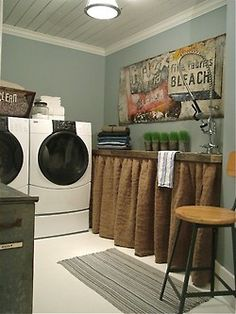burlap curtains in the laundry.great space rustic feel.