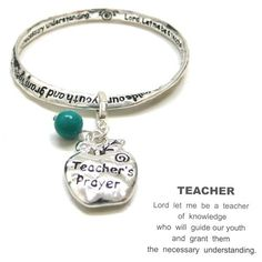 #cybermonday #stockingstuffer #jewelry Designer Inspired Silver Tone Message Bracelet with Poem Inscribed with Apple Teacher Charm and Turquoise Bead Hail Mary Gifts,http://www.amazon.com/dp/B00BGDXGQU/ref=cm_sw_r_pi_dp_aapNsb1ZWQZQR6MN