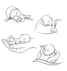 Set with cute little sleeping baby& Different sleeping positions. Children on pillow. on hand, with blanket, with teddy bear. Logo for sleep expert. Line art one color vector illustration. Baby Cartoon Drawing, Baby Drawing, Angel Drawing, Cartoon Drawings, Bebe Anime, New Year Symbols, Sleeping Drawing, Dog Vector, Cute Little Baby