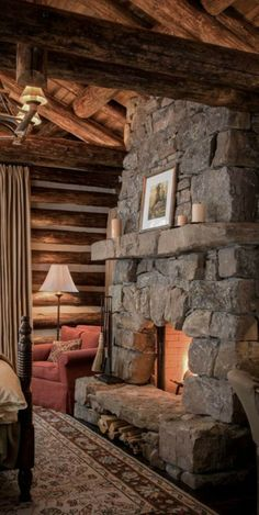 Cabin Fireplace, Fireplace Design, Home Design, Outdoor Stone Fireplaces, Viking House, Log Cabin Living, Cabin Chic, Montana Homes, Wooden Cottage