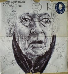 London-based artist Mark Powell has chosen the backs of old envelopes as a canvas for these delicately rendered portraits of the elderly, using nothing more than a standard Bic Biro pen to create the delicate folds and wrinkles of their skin. Biro Drawing, Drawing Sketches, Painting & Drawing, Art Drawings, Mark Powell, Art Informel, Envelope Art, Colossal Art, A Level Art