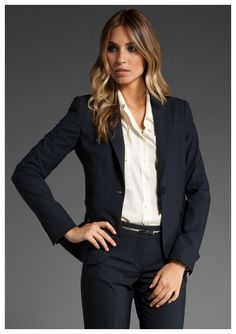 Theory classic black pant suit and white blouse