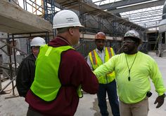 BAC Secretary-Treasurer Henry Kramer, left, with Local 1 bricklayer Talmadge Hayer, right, and Local 1 Field Representative Todd Buckner, center, at Cheltenham Youth Detention Center in Prince George's County, Maryland. #BIM