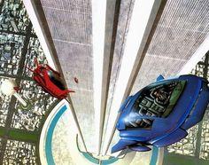 Retro-Futuristic Art by Jim Burns, futuristic vehicles