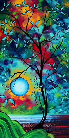 Abstract Art Landscape Tree Blossoms Sea Painting Under The Light Of The Moon I By Madart