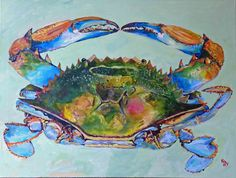Second painting of my blue crab series. Makes me want to go buy some chicken necks! Blue Crabs Art, Sea Creatures Art, Animal Art, Animal Sketches, Crab Art, Creature Art, Art, Louisiana Art, Crab Painting