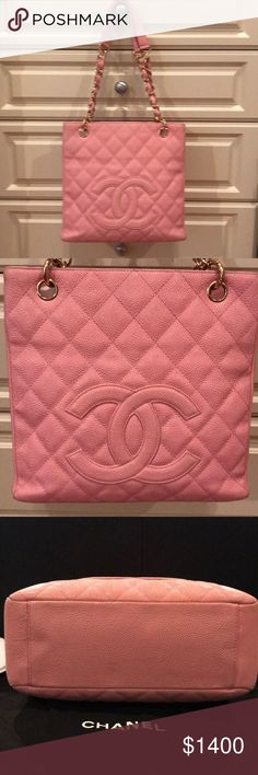 100% Authentic CHANEL Caviar leather shoulder bag This gorgeous bag is still in great condition with some signs of wear as posted. Mainly slight markings in the bottom corners and where the strap attaches. Still in great condition. Interior zippered. Compartment . Hook attachment. Exterior pocket. Dust bag included. No box. CHANEL Bags Shoulder Bags