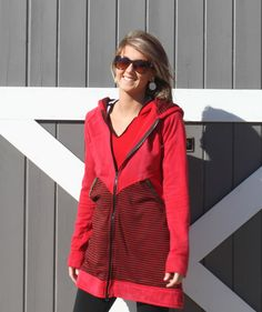 "This Long Sweatshirt Tunic Hoodie Jacket is long and so comfy you won't want to take it off.  The ""Candace"".  $69"