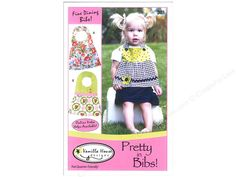 Pretty In Bibs Pattern by Vanilla House Designs 'Fat quarter friendly'. Keep your little princess neat and clean at your next fancy sit-down dinner, be it at home or away, with one of these ever-so clever feminine inspired, bibs. Includes instructions, diagrams, and paper pattern pieces. 3 versions come in size small and large. Small is for 3 to 12 months and large is for 12 to 30 months.
