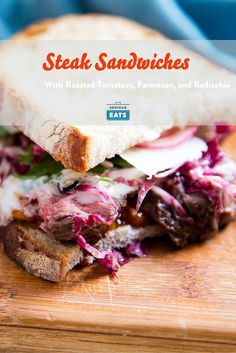 The appeal of a steak sandwich lies in the fact that it's steak, and yet it's all the other components that make it truly special. This one is layered with an easy roasted cherry tomato jam, a creamy anchovy- and cheese-spiked sauce, a bright and bitter salad, pickled onions, and Parmesan.