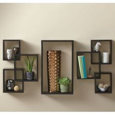 Buy 7-Piece Interlocking Wall Shelf Set in Cosmo Black from Bed Bath & Beyond