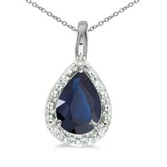 14k White Gold Pear Sapphire Pendant with 18 Chain *** Continue to the product at the image link.Note:It is affiliate link to Amazon.