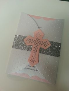 Christening Baptism Holly Communion Pink and White with glitter silver Embossed cross cut out layared handmade Invitations for girls or baby by MarysInvitationsNWA on Etsy https://www.etsy.com/listing/213337774/christening-baptism-holly-communion-pink