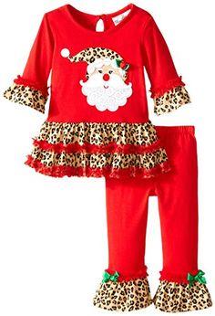 Rare Editions Baby BabyGirls Infant Santa Applique Legging Set Infant Red 12 Months