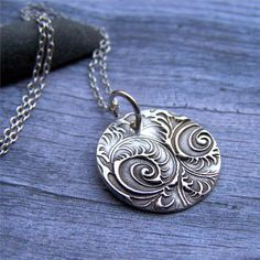 Paisley Necklace Rustic Silver Jewelry by EarthshineDesigns1, $32.00