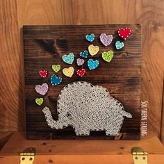 Elephant blowing hearts! #StringArt #Elephant  See more or send me a message for a board of your own on IG at @southern.string!