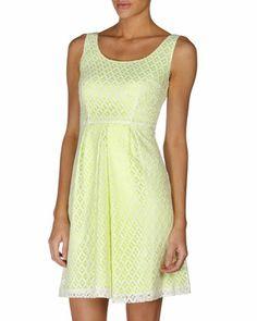 Tahari Crochet Lace Dress (White/Green)
