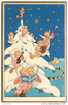 J. Gouppy card - Angels playing music in white pine tree