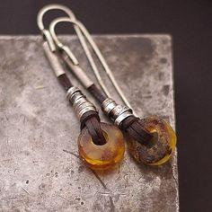 Baltic amber  earrings sterling silver . Raw amber . door ewalompe, $57.00