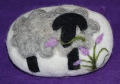 Felted Soap Merino Wool Gray Sheep With Lavender Flowers.
