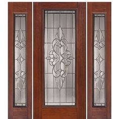Shop for GlassCraft Full Lite fiberglass Mahogany wood grain entry door with two sidelites. GlassCraft uses a unique technology process that authentically reproduces the natural wood grain surface into a fiberglass door skin. Wooden Door Design, Front Door Design, Wooden Doors, Walnut Doors, Slab Doors, Fiberglass Entry Doors, Victorian Door, Stained Glass Door, Door Design Interior