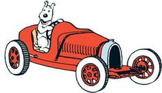 Snowy in Abdullah's red pedal car roadster • Tintin and the Land of Black Gold •…