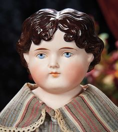 The Lifelong Collection of Berta Leon Hackney: 435 German Bisque Doll with Brown Sculpted Hair, Model 1046, by Alt, Beck and Gottschalk