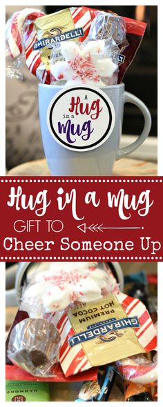 Hug in a Mug Gifts to Cheer Someone Up A Peek at the Fun: Looking for gifts to cheer someone up? Try this cute and simple Hug in a Mug gift for a friend-guaranteed to make them smile. Holiday Gift Baskets, Diy Gift Baskets, Diy Holiday Gifts, Sympathy Gift Baskets, Sympathy Gifts, Coffee Lover Gifts, Gifts In A Mug, Coffee Lovers, Jar Gifts