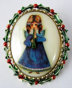 Christmas Angel Pin Porcelain Oval Painted by JewelryDiscoveries