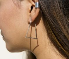 Triangle Hoop Earrings - love simple geometric pieces like this!