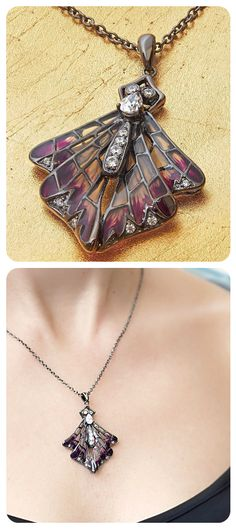 Pendant Necklace | Sterling Silver Black Oxidised; Purple Enamel; Cubic Zirconia | Designer Gigi Cheng | Evening Style |