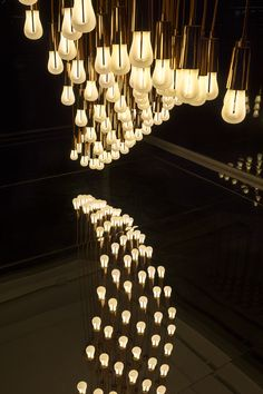 Lightwave installation by Plumen in the Design Museum Tank featuring 96 Plumen 002 low energy light bulbs. Available at plumen.com
