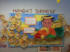 Handas Surprise Book Display by Andrea Clare School Library Displays, Class Displays, Classroom Displays, School Libraries, Numeracy Activities, Interactive Activities, Book Corner Display, Handas Surprise, All About Me Preschool