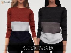 The Sims 4 Elliesimple - Tricolor Sweater