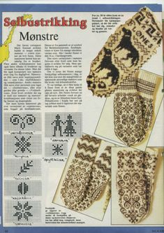 norwegian mittens, patterns pinned next to pic Knitted Mittens Pattern, Fair Isle Knitting Patterns, Knit Mittens, Knitting Charts, Knitting Socks, Mitten Gloves, Knit Or Crochet, Filet Crochet, Norwegian Knitting