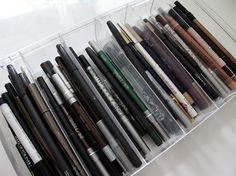 Eyeliner Organization eyelin, makeup organization, makeup storage, makeup and beauty blog, storag idea, beauti, beauty blogs, storage ideas, pencils