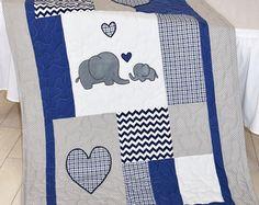 Fox Blanket Teal Gray Nursery Baby Boy Quilt от Customquiltsbyeva