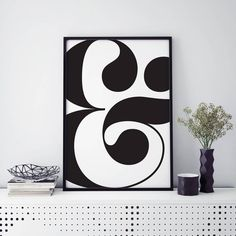 Ampersand Monochrome Typographic Print by oso twee, the perfect gift for Explore more unique gifts in our curated marketplace. Bold Prints, Art Prints, Letter Wall, Giclee Print, Monochrome, Gallery Wall, Typography, Symbols, Inspiring Art
