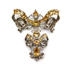 *18th century topaz and diamond ribbon bow brooch, Portuguese c.1770*