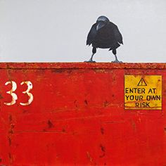 """DUMPSTER DIVING XI: AWARENESS- Raven Painting by Cristina Del Sol Mixed Media: Acrylics, dry pigments, marble dust ~ 14"""" x 14"""""""